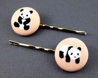 Panda Bobby Pins - Peach Colored - Panda Bear Fabric Covered Buttons