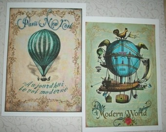 HOT AiR BALLOONS  - Nursery Wall Art - Whimsical, Colorful  - Choice of sizes - SET of 12 - Click on all photos - V 19144