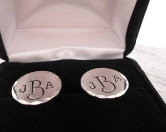 Sterling Silver Cuff Links - Personalized Cuff Links - Hand Stamped Cuff Links - Men's Cuff Links - Groom gift