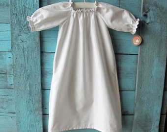 baby baptism GOWN pure white or ivory cotton, SIMPLE SHILOH with long sleeves custom newborn to 6