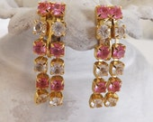Vintage Trifari earrings rhinestone earrings dangle earring comfort clip earrings pink blush earrings clear on gold tone metal