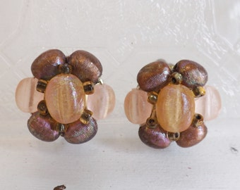 Vintage beaded earrings cluster earrings pink earrings and mauve earrings ridged opalescent earrings beads clip on earrings