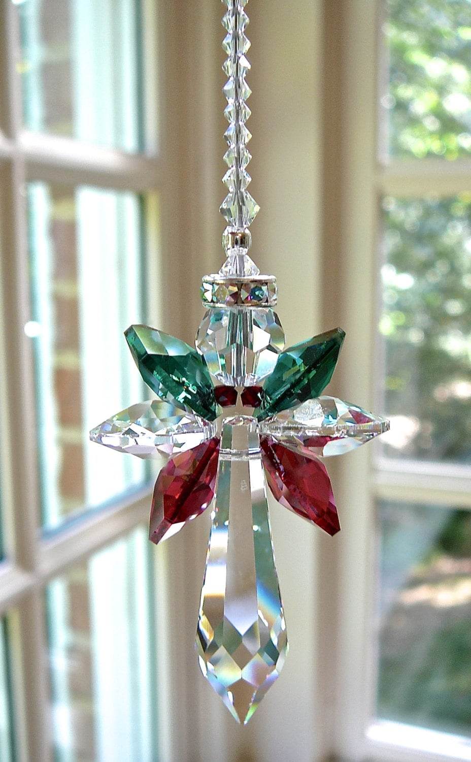 Crystal CHRISTMAS ANGEL Red and Green Swarovski