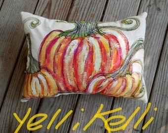 Pretty Pumpkins/ Hand Painted Canvas Pillow/ Fall Decor/ Made To Order/ YelliKelli