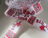 "Boston Red Sox Ribbon   Grosgrain 1"" Wide    Wicked Nice Ribbon"