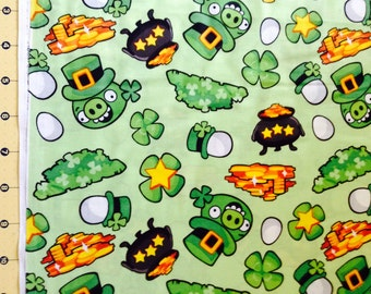 Angry Birds Lucky Piggies Fabric By The Yard