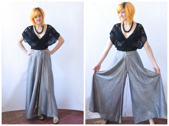 Incredible 70s Silver Palazzo Pants Glam Rock Size Xs Extra
