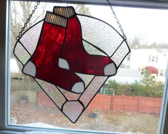 Large 15 inch New England's Boston Red Sox  inspired Stained  Glass Light catcher