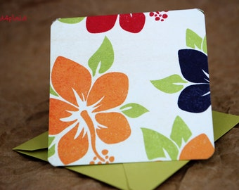 Blank Mini Card Set of 10, Tropical Hibiscus Floral with Contrasting Pattern on the Inside, Metallic LIme Envelopes, mad4plaid