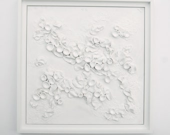 Woodland Series IV Lichen Abstract in White - Sculpted Clay Textured 3 Dimensional Wall Hanging