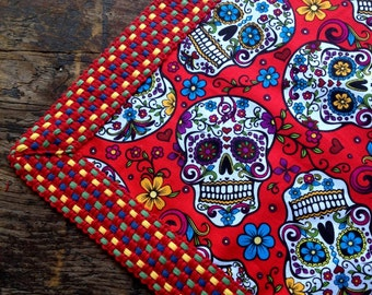 Day of the Dead Tablecloth Red Sugar Skull Tablecloth / Tabletopper Vintage Woven Cotton Trim