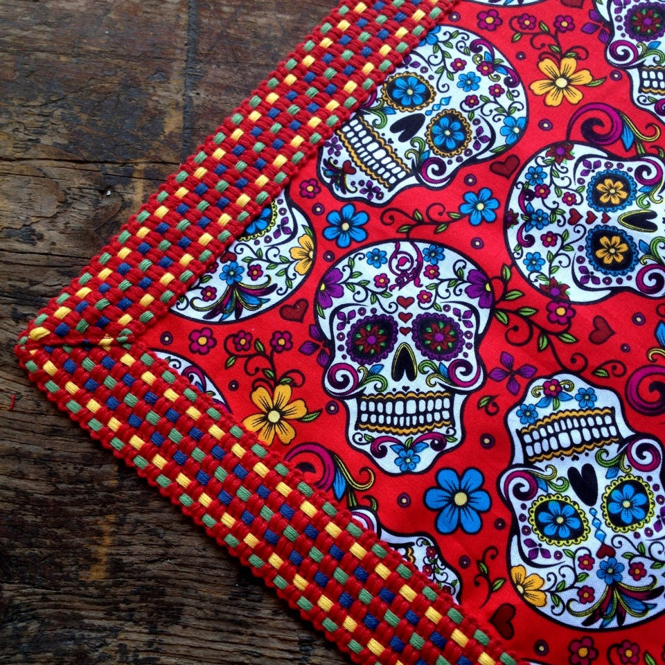 Cockerels Are Scattered All Over This Fabric Made From: Day Of The Dead Tablecloth Red Sugar Skull Tablecloth