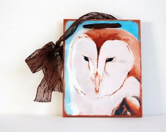 Barn Owl-Mounted Art Print-Ready to Hang - Copper and Blue