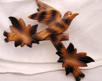 Vintage Cuckoo Clock Bird and Leaves Wooden Trim