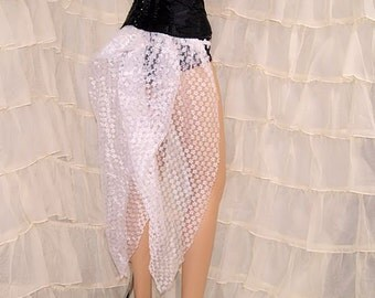 White Floral Lace Mid Length Bustle Wrap MTCoffinz - All Adult Sizes