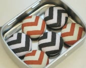 Chevron. Black & Orange-Rust...6 Fabric Magnets. Decorative Magnets.