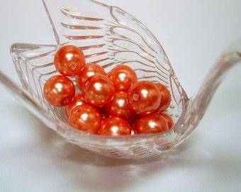 Orange Glass Pearl Round Beads (Qty 17) - B1998