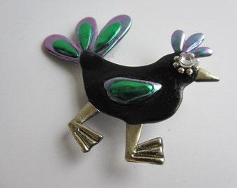 Wacky Bird Pin in black iridescent green, and green brooch pin