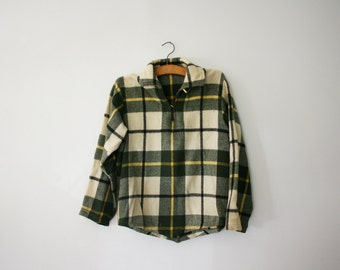 vintage 60s Mens Pullover Wool Jacket Coat Cream and Hunter Green Lumberjack Plaid- L
