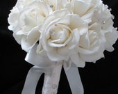 Realtouch Cream/white Rose Bridal Bouquet and Boutonniere Set