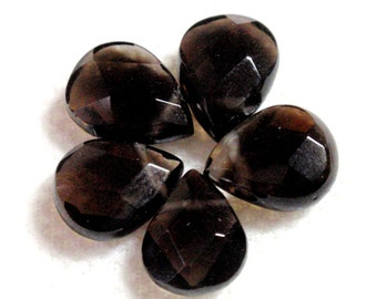 Dark Chocolate Smoky Topaz AAA Puffy Faceted Pear Rose Cut Tear Drop Briolette Beads 5 Pcs Top Drilled Faceted 8mm A4