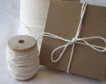 25 Yards Cotton Twine, Bakers Twine, Natural Cotton Twine, String, Box Twine, Spool of Twine, Gift Wrapping, Gift Wrap, On 2 Inch Wood Spool
