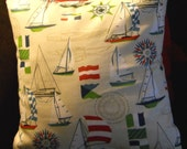 Nautical Toss, throw, accent Pillow cover, sails on white background, 16x16.