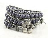 Gray Leather Wrap Bracelet Steel Gray Black Triple Wrap Silver Magnolia Bohemian Fashion Boho Jewelry Fall Fashion