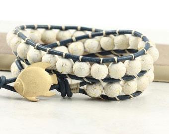 Navy Blue Leather Wrap Bracelet Distressed White Gold Fish Nautical Jewelry Summer Fashion Bohemian Jewelry Leather Jewelry Beach Bracelet