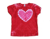 Tie Dye Shirt in Red with a Hot Pink Heart- Girls and Adult Sizes Available