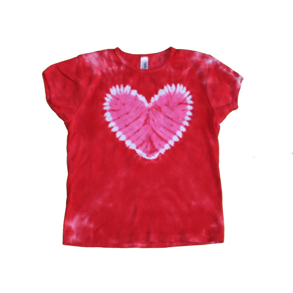 Tie Dye Shirt In Red With A Hot Pink Heart By