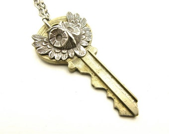 OOAK Unisex Silver Owl Key Layering Necklace