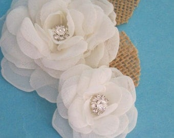 Rustic wedding burlap Bridal hair flower set, Ivory, Organza Rose hair pin, set E153 - bridal hair accessory