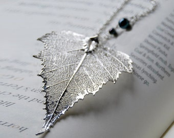 Large Fallen Silver Birch Leaf Necklace - REAL Birch Leaf