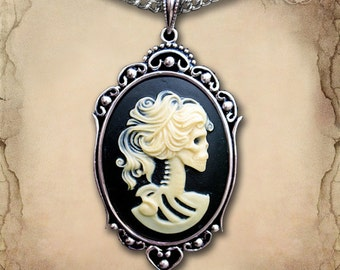 Ivory Skeleton Cameo Necklace // Gothic Necklace // Day of the Dead Necklace // Victorian Jewelry // Gothic Cameo // Skull Necklace