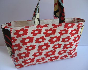 Reusable Tote, Red Daisy and Mocca Too, Egg Carton Tote, Project Bag II