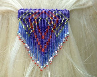 Sm Blue, Red and Gold Peaks with Dangles. Handbeaded seed bead barrette.