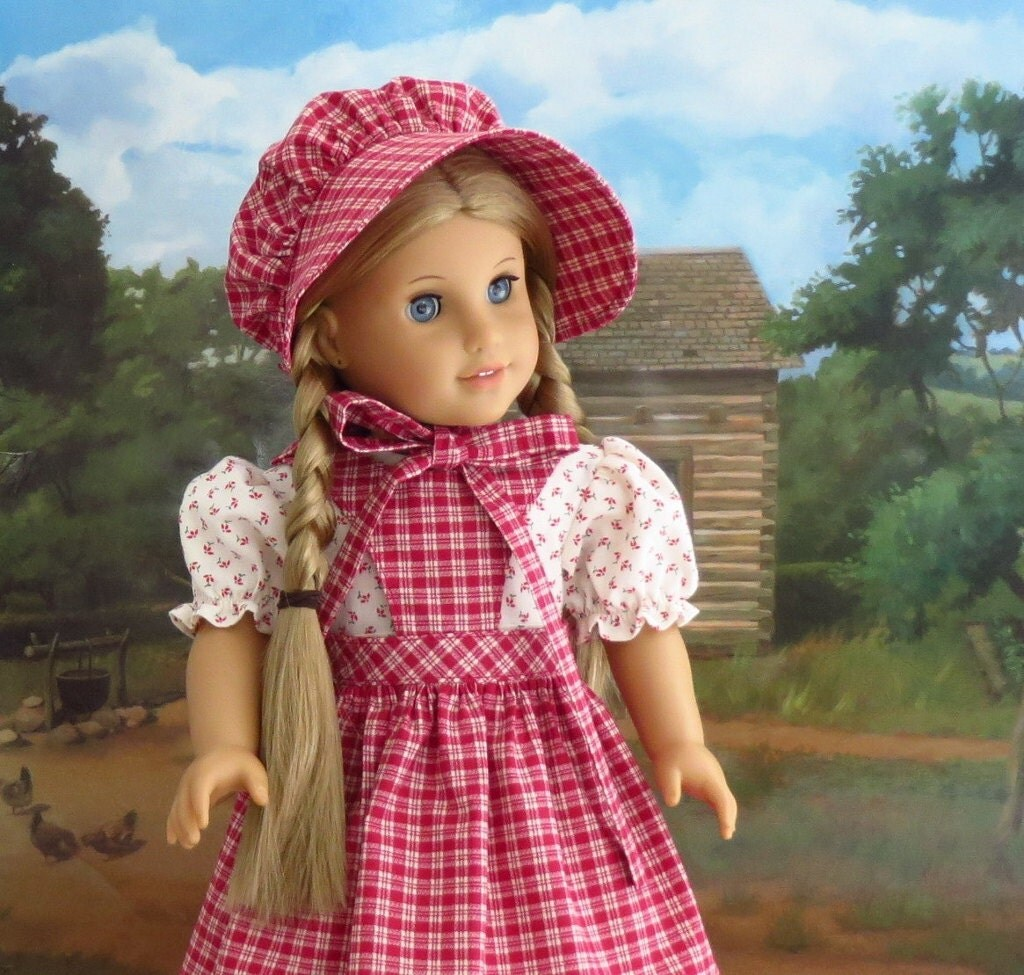 American Girl Doll Clothes Kirsten Prairie Dress Pinafore