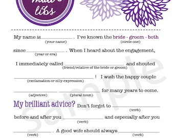 Bold Mums Wedding Mad Libs PDF FILE Immediate Downloadable File Download Right NOW