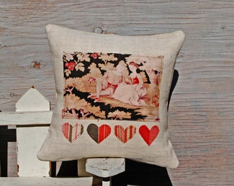Handmade Antique French Pillow Sleeve - Afternoon Love - 14 Inches