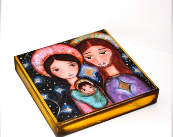 Nativity Stars -   Giclee print mounted on Wood (8 x 8 inches) Folk Art  by FLOR LARIOS