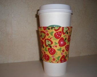 Fabric Coffee Cozy . Apples . Strawberries . Reversible . Gift Under 10 Dollars