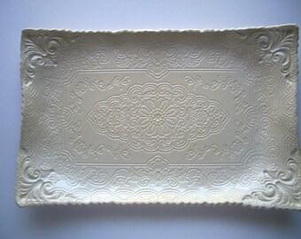 Cream Oblong Brocade Serving Platter