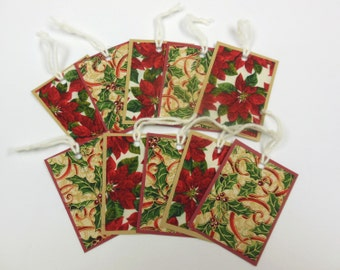 Fabric and Paper, Gift Tags, Christmas, Ornaments - Set of 10 - Quiltsy Handmade