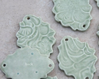 2 Pottery beads in Green Tea, The Zephyr
