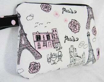Makeup Bag  Cosmetic Bag Paris Glitter Fabric  in Pink, Black & Silver