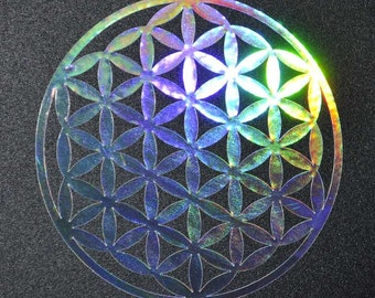Flower of life sacred geometry shimmer chrome vinyl decal