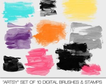 Artsy  Brush Strokes Digital Brushes and Stamps. Set of 10. Instant Download. Personal and Limited Commercial Use