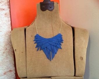 Electric Blue Leather Fringe Necklace