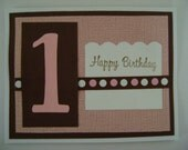 Handmade Card - Adorable Pink and Brown First Birthday Stamped Card with Polka Dot Ribbon